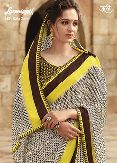 The off white, brown and yellow georgette saree with jacquard patty and contrast blouse will make the worthy attire. Indian Beauty Saree, Georgette Sarees, Printed Sarees, Yellow And Brown, African Fashion, Off White, Chiffon, Sari, Blouse