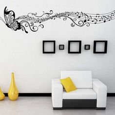 Music and Butterfly Wall sticker Butterfly silhouette Animal pattern