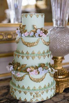 mint and gold baroque wedding cake Beautiful Wedding Cakes, Gorgeous Cakes, Pretty Cakes, Amazing Cakes, Baroque Wedding, Parisian Wedding, Parisian Cake, Wedding Cake Designs, Cake Wedding