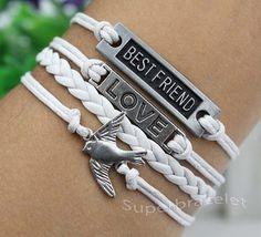 Silvery white leather cord bracelet BESTFRIEND by superbracelet, $4.59