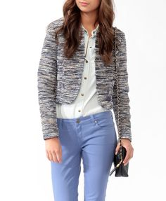 Fringed Boucle Tweed Jacket | FOREVER21 - 2013706609