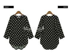 S1468 polka fot chiffon blouse-black