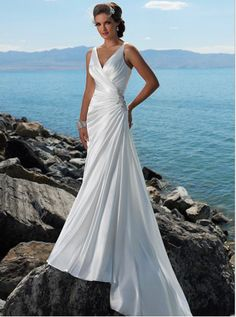 Funky Beads Working Wide Straps Side-draped Satin Court Train Beaching Wedding Dress for Brides [BWD032] - US $165.9900