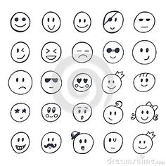 (Funny Faces) stock illustration set hand drawn smiley funny faces different expressions vector illustration Funny Smiley, Cute Smiley Face, Smileys, Free Smiley Faces, How To Draw Anything, Kindergarten Drawing, Face Doodles, Doodle On Photo, One Line Tattoo