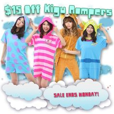 We're having a sale on our Kigu Rompers starting now through Monday, April 27th!  Just use coupon code 15OFF during your checkout to take $15 off your order!  http://kigurumi-shop.com/featured-kigurumi.aspx?dc=15OFF  ^^