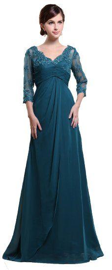 3/4 Sleeve A-Line Evening #Gowns Floor Length
