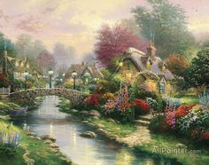 Thomas Kinkade Lamplight Bridge oil painting reproductions for sale