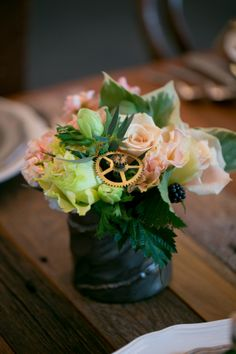 Steampunk Inspired Wedding Flowers With Cogs
