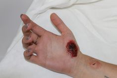 Student work, SFX makeyp - cuts and scrapes.   Complete Media Makeup and Hair Course Photo Gallery   Centre Stage Studios, East Sussex