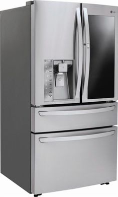French InstaView Door-in-Door Smart Wi-Fi Enabled Refrigerator Stainless steel at Best Buy. Find low everyday prices and buy online for delivery or in-store pick-up. Best French Door Refrigerator, Door In Door Refrigerator, Kitchen Refrigerator, Stainless Steel Refrigerator, Stainless Steel Kitchen, Tiny Fridge, Clean Fridge, Best Appliances, Kitchen Appliances