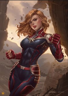The new hair of Captain Marvel was a blast but still I love the first version. ❤️ So happy to share this fan art of Captain Marvel here. Marvel Dc Comics, Marvel Fanart, Heros Comics, Marvel Avengers, Marvel Women, Marvel Girls, Marvel Comic Books, Archie Comics, Comics Girls
