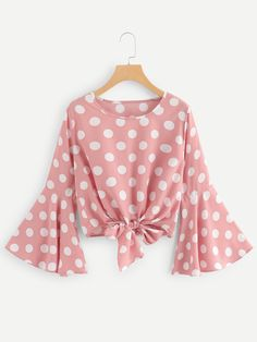 SHEIN offers Fluted Sleeve Polka Dot Knot Front Top & more to fit your fashionable needs. Pink Fashion, Hijab Fashion, Korean Fashion, Fashion Dresses, Saree Blouse Designs, Blouse Styles, Crop Top Outfits, Casual Outfits, Pretty Outfits