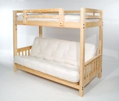 Amazon.com: The Ultimate Space Saver: Solid Wood, American-made and Sleeps 3! --- Full Futon Bunk Bed - Frame Only - Eco-friendly: Home & Kitchen