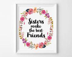 Sisters Make the Best Friends Nursery Print by boutiqueprintart