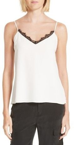 Scalloped lace adds to the delicate femininity of a relaxed cami made from washed silk crêpe de Chine Nordstrom Sale, Scalloped Lace, Silk Crepe, Femininity, Lace Trim, Basic Tank Top, Camisole Top, Delicate, Tank Tops