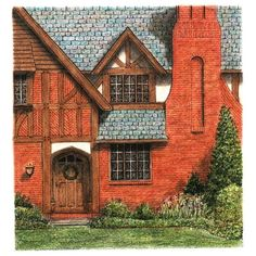 Brick Tudor Architectural Art Original Pen and Ink Red Pastel Wall... ($155) ❤ liked on Polyvore featuring home, home decor, wall art, pastel home decor, red home accessories, red wall art, architectural wall art and red home decor