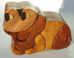 PUZZLE JEWELRY wooden box and FROG