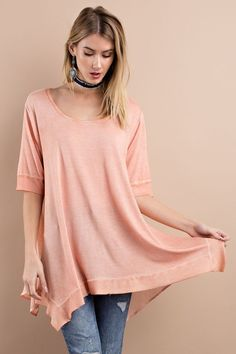 SUPER SOFT CASUAL FIT HALF SLEEVE FEATURING MIX N MATCH KNIT WOVEN OIL WASHED, WITH ROUNDED NECK AND SHARKBIT FLOWY LOOSE FIT TUNIC,    95%rayon, 5%spandex    Apricot     | Shop this product here: http://spreesy.com/ddstallons/65 | Shop all of our products at http://spreesy.com/ddstallons    | Pinterest selling powered by Spreesy.com