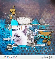 layout with Fortune-teller collection (7 Dots Studio) UmWowStudio chipboard/flairs and Finnabair media