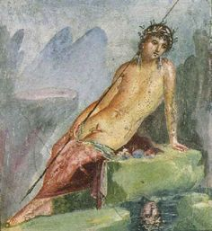 Narcissus . Ancient Roman fresco (45-79 a.C.) from Pompeii, Italy.
