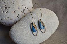 ⋆ Nouveau ⋆ Boucles d'oreilles avec sequin goutte bleu et anneau ovale : Boucles d'oreille par libelula-crea