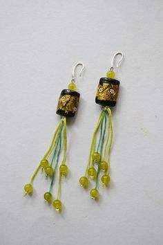 Drop earrings with handmade lampwork murano beads and Lime