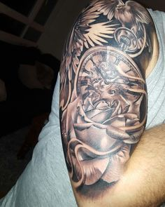 #Tattoo #Halfsleeve #rose #Pocketwatch #clock #doves