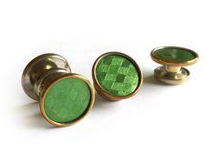 Art Deco Snap Link Cufflinks / 1920s Snap Cuff Links / Green Scotch Plaid Celluloid Cufflinks / Vintage Cuff Links