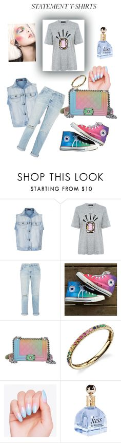"""Bling t"" by fashionko ❤ liked on Polyvore featuring Ally Fashion, Markus Lupfer, Current/Elliott, Converse, Chanel and Sydney Evan"