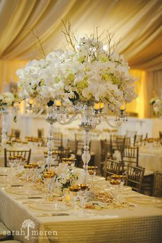 Crocker Art Museum Wedding Photos - Orchid Centerpeices at with gold and cream - Sarah Maren Photographers