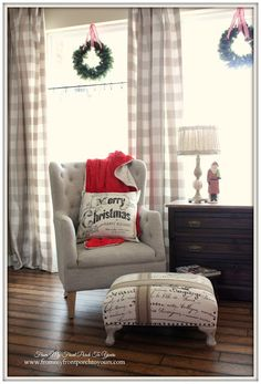 Buffalo Check Curtains-Farmhouse Vintage Christmas Living Room- From My Front Porch To Yours