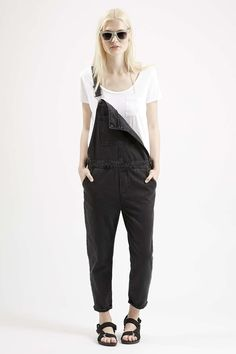 MOTO Black Denim Dungarees - Topshop USA