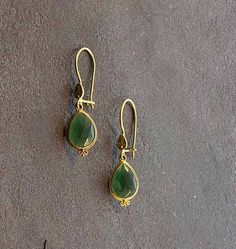 """Bask Green Tourmaline Drop Earrings - 18K gold green tourmaline (4.5 TCW) drop earrings on wire with hook closure, approximately 1 1/4"""" in length"""