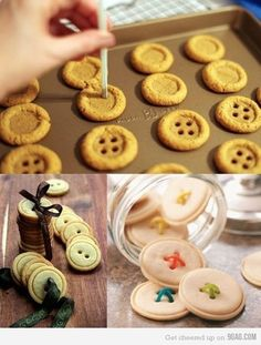 """Button, button, who's got the buttons?"" Bite size buttons made from cookie dough; Ginger Snap dough, Sugar cookie dough, Gingerbread dough, ......"