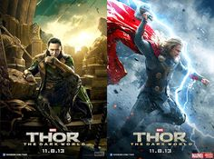 2 Stunning New Character Posters featuring #Thor and #Loki for 'Thor: The Dark World.' #Marvel #Superhero
