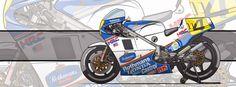 Motorcycle Art - Honda NSR 500 Freddie Spencer 1984-1985 by Evan DeCiren