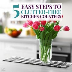 Short on kitchen counter space? Follow these easy steps to declutter your kitchen counters in less than an hour! Get rid of kitchen counter clutter today. Decluttering your kitchen is one of the most important things you can do to your home organized and under control! #declutter #declutteringtips #kitchendecluttering #kitchenclutter #kitchencounters