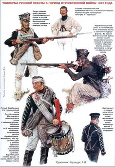 Russian infantry, 1812, (artist unknown). Help eliminate poor pinning! If you know the artist and can supply a link, please update this pin. Thank you!