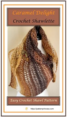 The rich colors remind me of caramel delight crochet shawlette. This is an easy crochet pattern to work and it is quick to grow, which makes this highly Crochet Prayer Shawls, Crochet Shawls And Wraps, Crochet Scarves, Crochet Clothes, Easy Crochet, Knit Crochet, Unique Crochet, Modern Crochet, Crochet Things