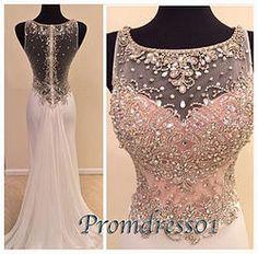#promdress01 prom dresses - 2015 gorgeous pink chiffon round neckline rhinestones beaded long prom dress for teens, custom-made ball gown, long evening dress