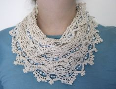 Crochet thread and beads infinity scarf