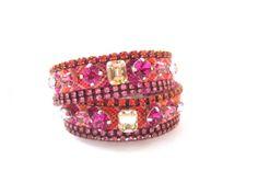 Double wrap friendship bracelet cuff embellished with swarovski crystal - wrap bracelet, swarovski friendship cuff