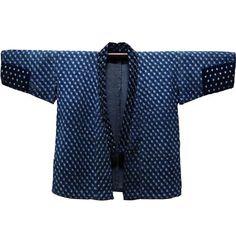Sewing Ladies Clothes Lady Farmer's Jacket Indigo Cotton Kasuri Covered With Sashiko Stitching - Japanese Textiles, Japanese Patterns, Japanese Kimono, Sashiko Embroidery, Japanese Embroidery, Indigo, Kimono Pattern, Kimono Jacket, Japanese Outfits
