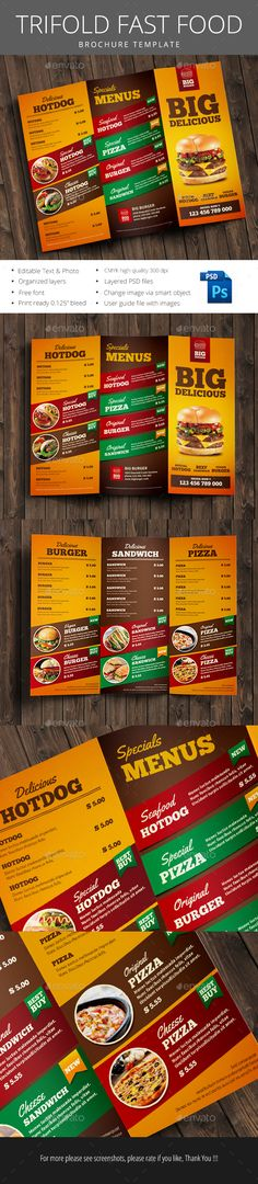 Fast Food Trifold Brochure Template PSD. Download here: http://graphicriver.net/item/fast-food-trifold-brochure/14902942?ref=ksioks