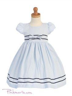 Light Blue Spring Cotton Seersucker Girl Dress