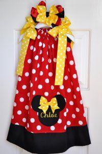 Children's Disney Pillowcase Dress Minnie MouseAvailable in Pink or Red!
