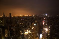 All of NYC now in darkness except for the Empire State Building. #Sandy
