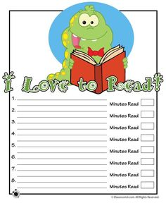 Printable Reading Logs Bookworm Printable Reading Log – Classroom Jr.