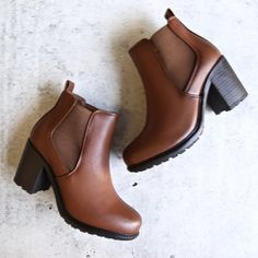 vegan leather chelsea boots - camel – shophearts on Heeled Boots, Bootie Boots, Shoe Boots, Ankle Boots, Shoes Heels, Boot Heels, Dark Brown Chelsea Boots, Leather Chelsea Boots, Cute Shoes