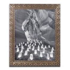 Trademark Fine Art Candle Canyon II Canvas Art by Moises Levy Gold Ornate Frame, Size: 16 x 20, Gray